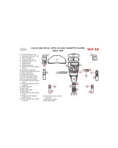 Volvo S80 1999-2003 interior dash kit, With CD and Cassette Player, 28 Pcs., Match OEM
