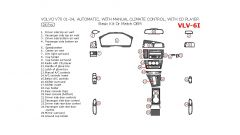 Volvo V70 2001-2004 basic interior dash kit or OEM Match, Automatic, With Manual Climate Control, With CD Player, 26 Pcs.