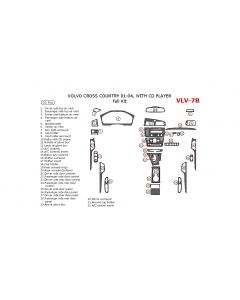 Volvo Cross Country 2001-2004 full interior dash kit, With CD Player, 32 Pcs.