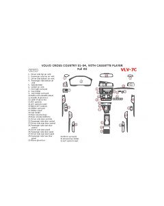 Volvo Cross Country 2001-2004 full interior dash kit, With Cassette Player, 32 Pcs.