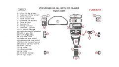 Volvo S80 2004-2006 interior dash kit, With CD Player, 24 Pcs., OEM Match.