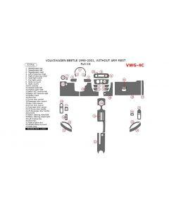Volkswagen Beetle 1998-2001 full interior dash kit, Without Armrest, 33 Pcs,