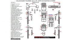 Volkswagen Touareg 2011-UP interior dash kit, With Navigation System, Deluxe Kit, 55 Pcs.