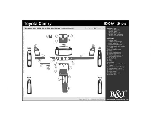Toyota Camry 2002-2004, Interior Molded/Flat Dash Kit Combo, without navigation (full kit), 26 Pcs.