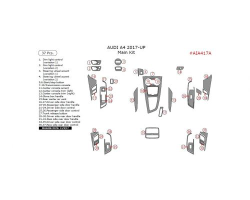 Audi A4/S4 2017-2021 Main Interior Dash Trim Kit, 37 Pcs.