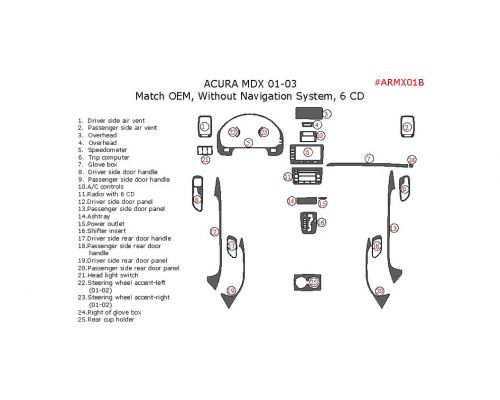 Acura MDX 2001-2003 interior dash kit, Without Navigation System, 6 CD Changer, 25 Pcs., OEM Match.