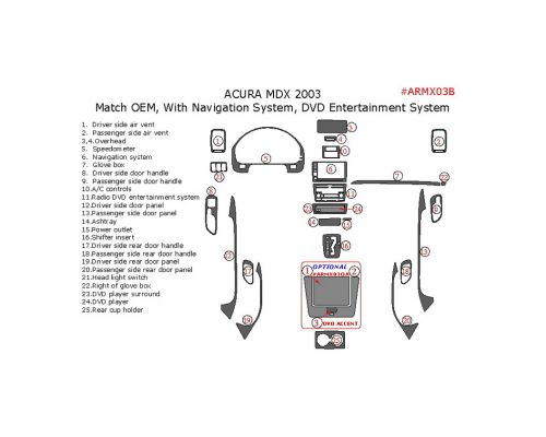 Acura MDX 2001-2003 interior dash kit, With Navigation System, With DVD Entertainment System, 25 Pcs., OEM Match.