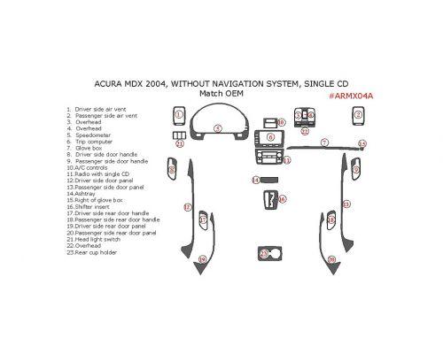 Acura MDX 2004 interior dash kit, Without Navigation System, Single CD, 23 Pcs., Match OEM