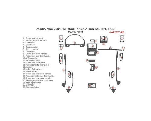 Acura MDX 2004 interior dash kit, Without Navigation System, 6CD Changer, 23 Pcs., Match OEM