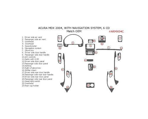 Acura MDX 2004 interior dash kit, With Navigation System, 6CD Changer, 23 Pcs., Match OEM