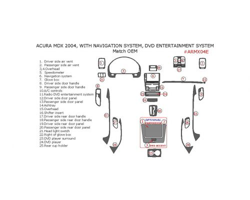 Acura MDX 2004 interior dash kit, With Navigation System, With DVD Entertainment System, 25 Pcs., Match OEM