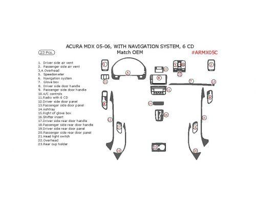 Acura MDX 2005-2006 interior dash kit, With Navigation System, 6 CD Changer, 23 Pcs., OEM Match.