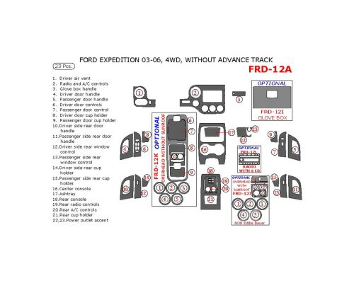 Ford Expedition 2003-2006 interior dash kit, NON-Eddie Bauer Edition, 4WD, Without Advance Track, 23 Pcs.