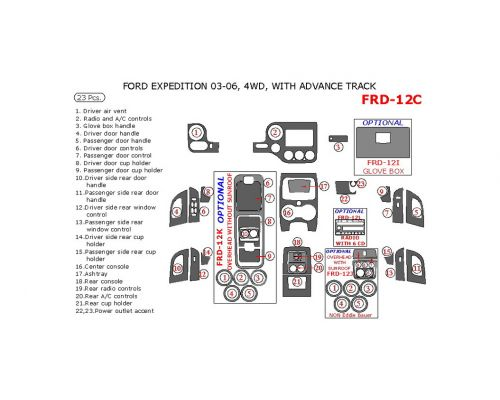 Ford Expedition 2003-2006 interior dash kit, NON-Eddie Bauer Edition, 4WD, With Advance Track, 23 Pcs.