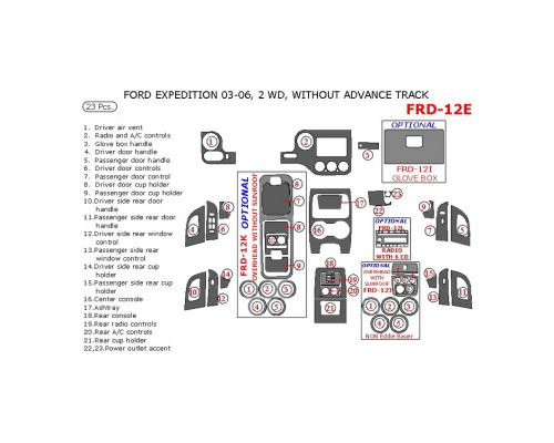 Ford Expedition 2003-2006 interior dash kit, NON-Eddie Bauer Edition, 2WD, Without Advance Track, 23 Pcs.
