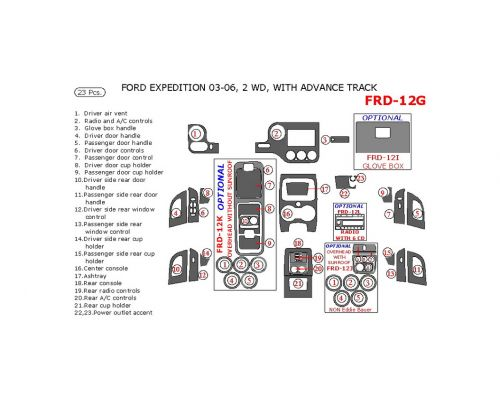 Ford Expedition 2003-2006 interior dash kit, NON-Eddie Bauer Edition, 2WD, With Advance Track, 23 Pcs.