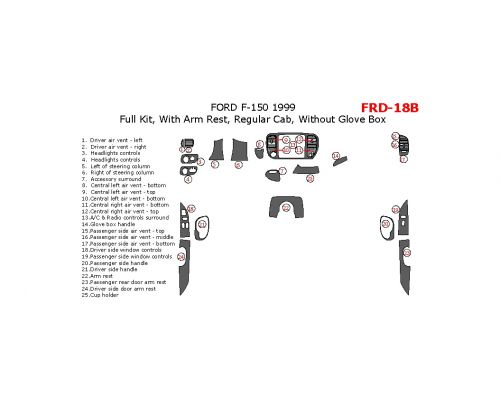 Ford F-150 1999 full interior dash kit, Regular Cab, With Arm Rest, Regular Cab, Without Glove Box, 25 Pcs.