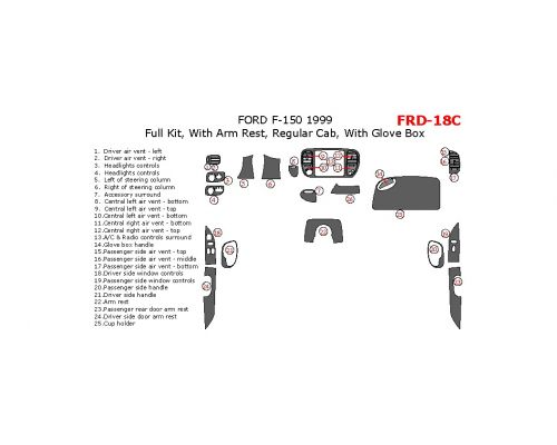 Ford F-150 1999 full interior dash kit, Regular Cab, With Arm Rest, Regular Cab, With Glove Box, 25 Pcs.