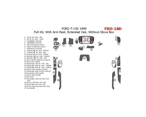 Ford F-150 1999 full interior dash kit, Extended Cab, With Arm Rest, Extended Cab, Without Glove Box, 26 Pcs.