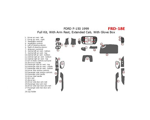 Ford F-150 1999 full interior dash kit, Extended Cab, With Arm Rest, Extended Cab, With Glove Box, 28 Pcs.