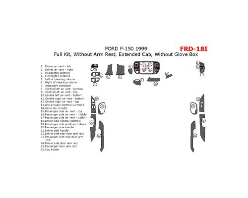 Ford F-150 1999 full interior dash kit, Extended Cab, Without Arm Rest, Extended Cab, Without Glove Box, 26 Pcs.