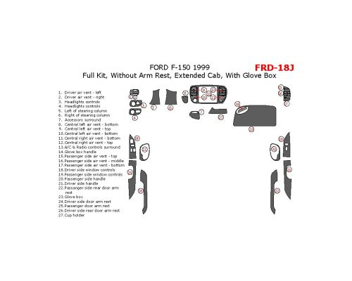 Ford F-150 1999 full interior dash kit, Extended Cab, Without Arm Rest, Extended Cab, With Glove Box, 27 Pcs.