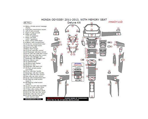 Honda Odyssey 2011-2013 interior dash kit, With Memory Seat, Deluxe Kit, 85 Pcs.