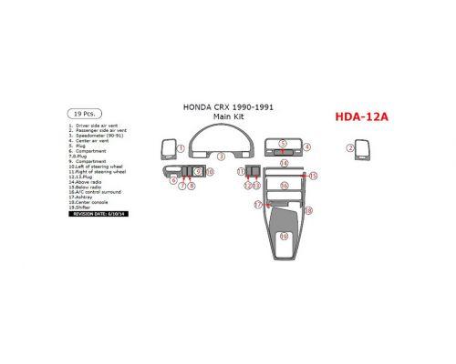 Honda CRX 1990-1991 main interior dash kit, 19 Pcs.