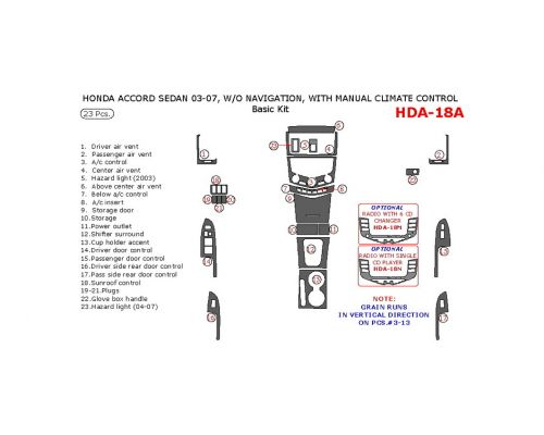 Honda Accord 2003-2007 basic interior dash kit, Without Navigation, With Manual Climate Control, 23 Pcs.