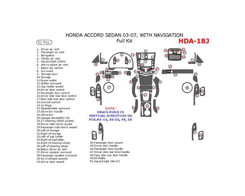 Honda Accord 2003-2007 full interior dash kit, With Navigation, 51 Pcs.