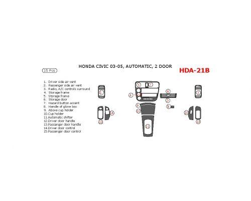 Honda Civic 2003-2005 interior dash kit, 2 Door, Automatic, 15 Pcs.