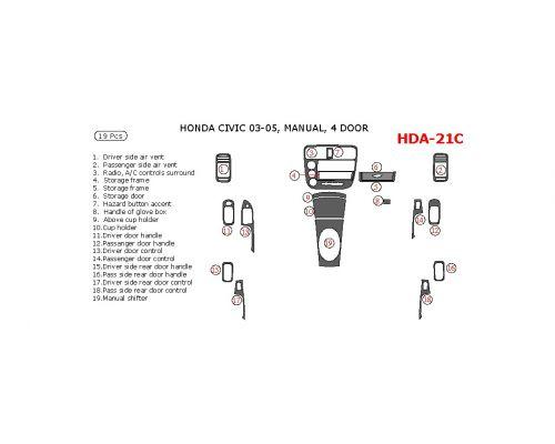 Honda Civic 2003-2005 interior dash kit, 4 Door, Manual, 19 Pcs.