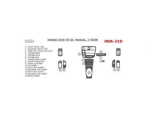 Honda Civic 2003-2005 interior dash kit, 2 Door, Manual, 15 Pcs.