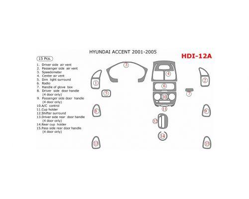 Hyundai Accent 2001-2005 full interior dash kit, 15 Pcs.