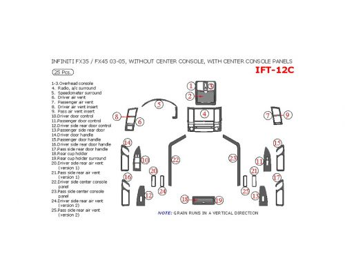 Infiniti FX 2003-2005 interior dash kit, Without Center Console, With Center Console Panels, 25 Pcs.