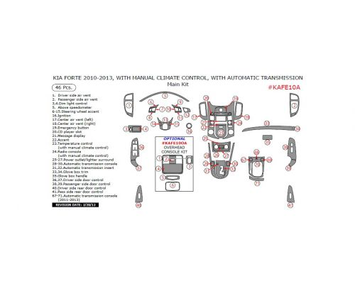 Kia Forte 2010-2013 interior dash kit, With Manual Climate Control, With Automatic Transmission, 46 Pcs.