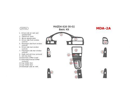 Mazda 626 2000-2002 basic interior dash kit, 14 Pcs.