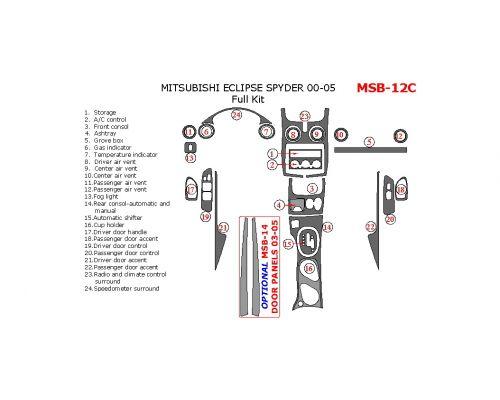Mitsubishi Eclipse Spyder 2000-2005 full interior dash kit, 24 Pcs.