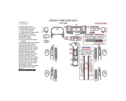 Nissan Cube 2009-2014 full interior dash kit, 38 Pcs.