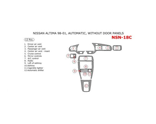 Nissan Altima 1998-2001 interior dash kit, Automatic, Without Door Panels, 12 Pcs.