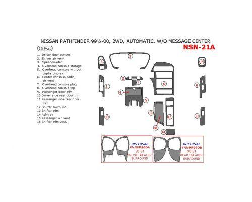 Nissan Pathfinder 1999.5-2000 interior dash kit, Automatic, Without Message Center, 2WD, 16 Pcs.