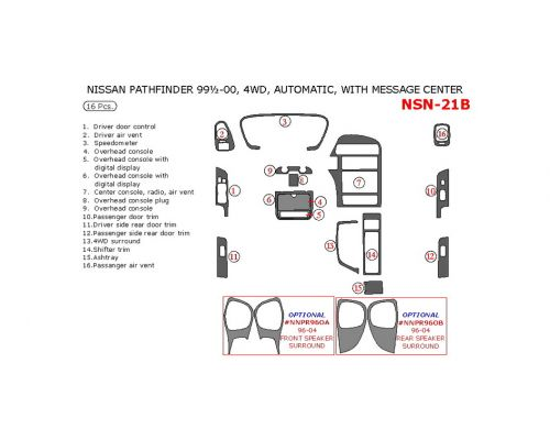 Nissan Pathfinder 1999.5-2000 interior dash kit, Automatic, With Message Center, 4WD, 16 Pcs.