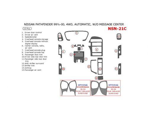 Nissan Pathfinder 1999.5-2000 interior dash kit, Automatic, Without Message Center, 4WD, 15 Pcs.