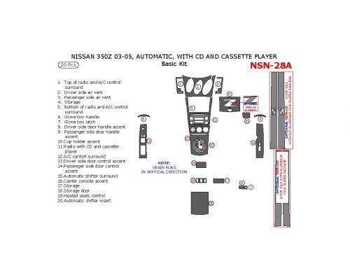 Nissan 350Z 2003-2005 basic interior dash kit, Automatic, With CD and Cassette Player, 20 Pcs.