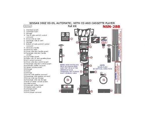 Nissan 350Z 2003-2005 full interior dash kit, Automatic, With CD and Cassette Player, 33 Pcs.