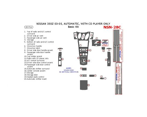 Nissan 350Z 2003-2005 basic interior dash kit, Automatic, With CD Player Only, 20 Pcs.