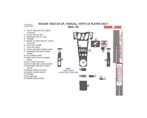 Nissan 350Z 2003-2005 basic interior dash kit, Manual, With CD Player Only, 19 Pcs.