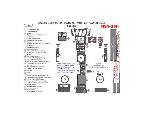 Nissan 350Z 2003-2005 full interior dash kit, Manual, With CD Player Only, 32 Pcs.