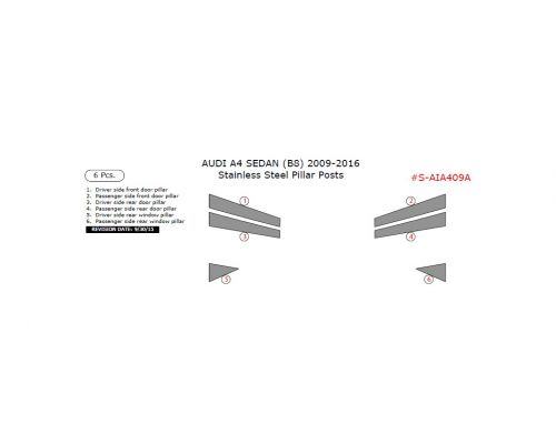 Audi A4 2009-2016 stainless steel door pillar, 6 Pcs.
