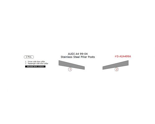 Audi A4 1999-2004 stainless steel door pillar, 2 Pcs.